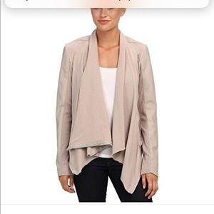 Blank NYC Faux Suede Beige Drape Front jacket